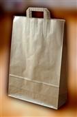 Papírová taška 22+10x36, ploché ucho, hnědý sulfát, 80g